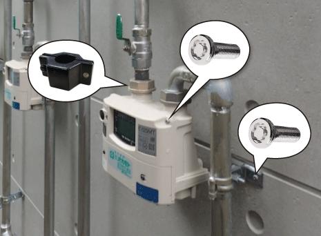 電気メーター、ガスメーター、水道メーターの盗難防止ねじ、いたずら防止ねじとして